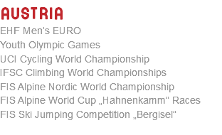 "AUSTRIA EHF Men's EURO Youth Olympic Games UCI Cycling World Championship IFSC Climbing World Championships FIS Alpine Nordic World Championship FIS Alpine World Cup ""Hahnenkamm"" Races FIS Ski Jumping Competition ""Bergisel"""
