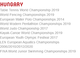 Hungary Table Tennis World Championship 2019 World Fencing Championships 2019 European Water Polo Championships 2014 World Modern Pentathlon Championships 2019 World Judo Championship 2017 Kayak-Canoe World Championships 2019 European Youth Olympic Festival 2017 LEN European Aquatics Championships 2006/2010/2012/2020 FINA World Junior Swimming Championships 2019